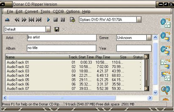 Click to view Donar CD Ripper screenshots