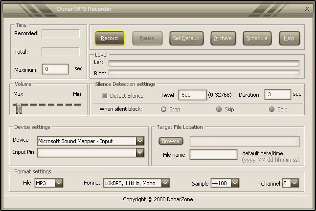 Click to view Donar MP3 Recorder 5.4.0 screenshot